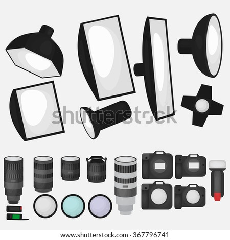 Set of photo studio equipment, light soft, camera and optic lenses flat icons, professional photographic technology vector