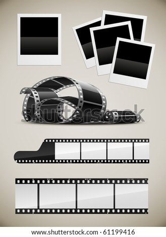 set of photo video film pictures set vector illustration - stock vector