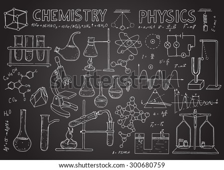 Set of physical and chemical equipment. Vector  hand drawing icons on the chalkboard. Vintage background. Linear illustration.  Back to School. Physics and chemistry.
