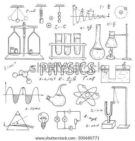 Set of physical equipment. Vector  hand drawing icons. Vintage background. Linear illustration.  Back to School. Physics.  - stock vector