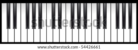 set of piano keys in illustration, black and white - stock vector
