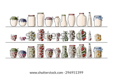 Set of pickle jars with fruits and vegetables, sketch for your design. Vector illustration - stock vector