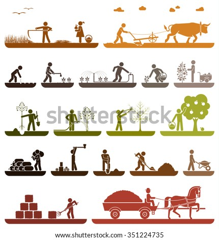 Set of pictogram icons presenting agricultural work and life on the farm. Mowing, plowing, planting, watering, transporting with horse drawn wagon. Agriculture icons. Organic production.  - stock vector