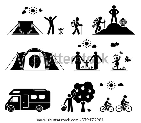 Set Of Pictogram Icons Presenting Various Activities On Camping In The Nature Family Vacation