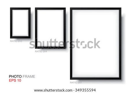 Set Picture Frame Vector Standard Size Stock Vector 349355594 ...