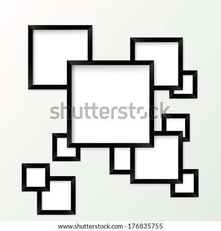 Set of picture frames with black borders. Vector illustration - stock vector