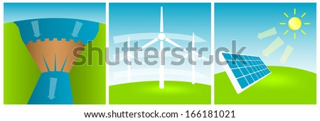 set of pictures for alternative energy concept, vector eps10 illustration - stock vector