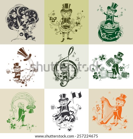 Set of pictures for St. Patrick's Day. - stock vector