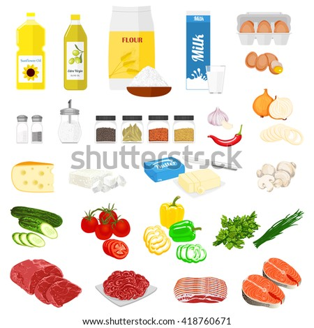 Set Of Pictures The Food For Cooking And Recipes Vector Colorful Illustration In