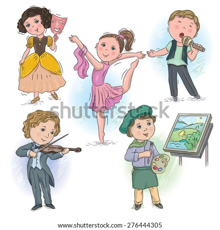 Set of pictures with children in creative professions - stock vector