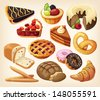 Set of pies and flour products from bakery or pastry shop - stock vector