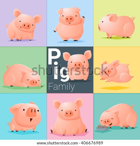 Set of Pig family , vector , illustration - stock vector