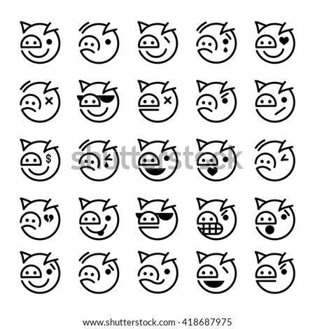 Set of pig smiley icons: different emotions - stock vector