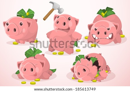 Set of piggy bank in different situations  - stock vector