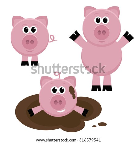 Set of pigs - stock vector