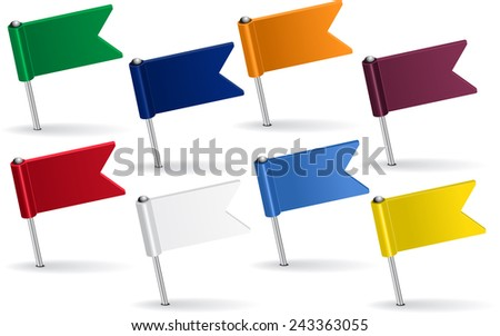 Set of pin icon flags. Vector illustration Eps 8. - stock vector