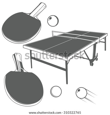 Set Of Ping Pong Monochrome Design Elements In Vintage Style: Ping Pong  Table, Ping