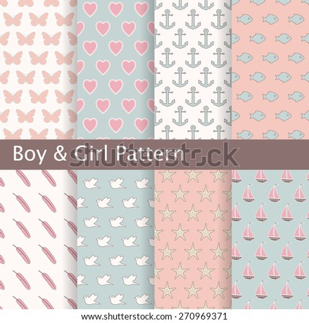 Set of pink and blue seamless patterns. Ideal for baby design. - stock vector