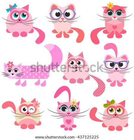 set of pink and red cats - stock vector