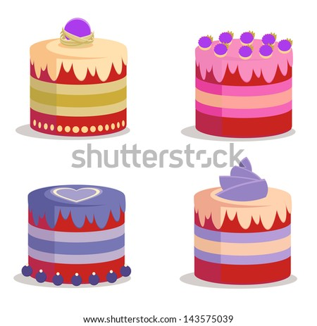 Set of pink and violet sweet cakes (vector) - stock vector