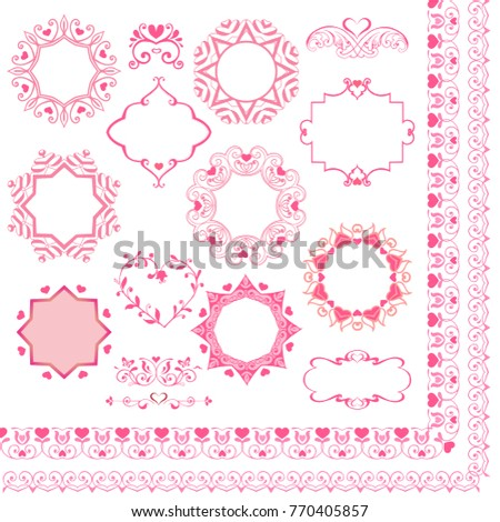 set pink borders frames hearts vintage stock vector royalty free