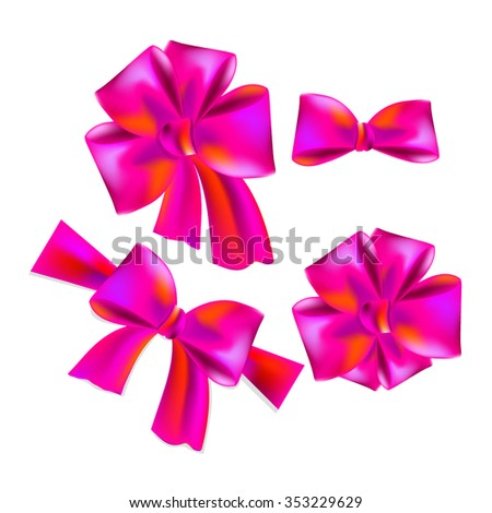 Set of pink bows. Vector