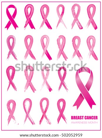 Set of pink different ribbons, breast cancer awareness symbol, isolated on white background. Vector illustration.