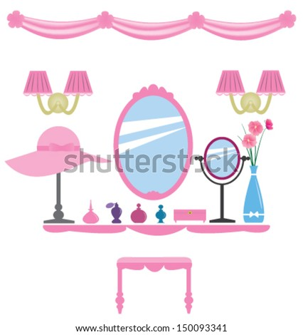 Set of pink dressing room elements, for wall decals, princess style - stock vector
