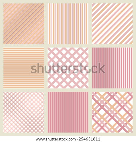 Set of pink geometric striped patterns . Vector background - stock vector