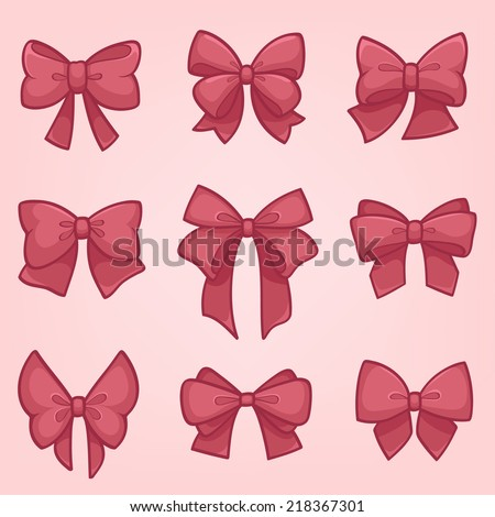 Set of pink gift bows with ribbons - stock vector