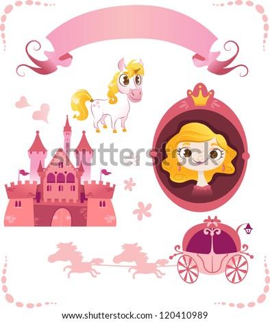 Set of pink princess tale - stock vector
