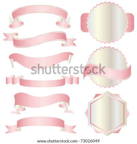 set of pink ribbon - stock vector