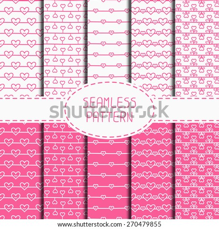 Set of pink romantic seamless pattern with hearts. Collection of wrapping paper. Paper for scrapbook. Vector background. Tiling. Hand drawn doodles. Stylish graphic texture for your design. - stock vector
