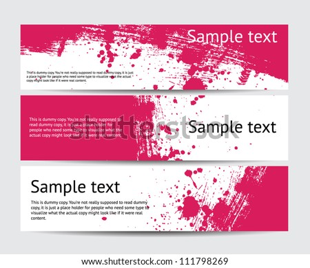 Set of pink vector brush stroke hand painted banners with paint splatters - stock vector