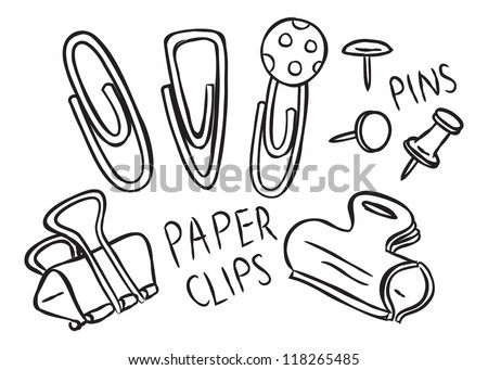 set of pins and paper clips doodle - stock vector