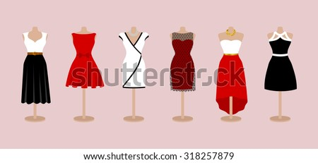 Set of 6 pinup elegant, glamour and evening woman dresses on a mannequin. Short and long black, red and white color design lady dress collection. Vector art image illustration, isolated on background - stock vector