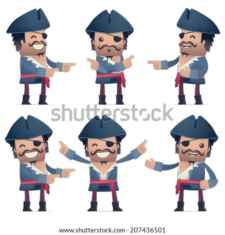 set of pirate character in different interactive  poses
