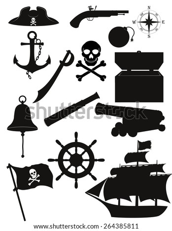 set of pirate icons black silhouette vector illustration isolated on white background - stock vector