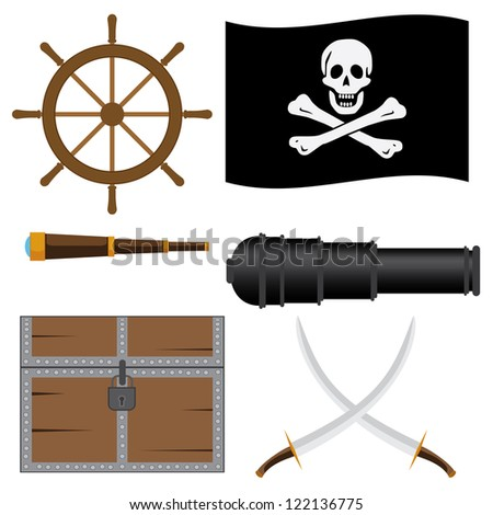Set of pirate's icons on the white background. - stock vector