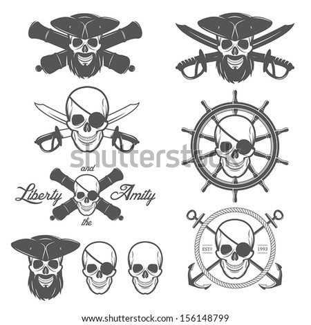 Set of pirate themed design elements  - stock vector