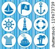 set of pirates and sailors icons on blue background - stock vector