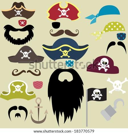 Set of Pirates Elements - Illustration - stock vector