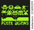 Set of pixel art aliens icons, vector - stock vector