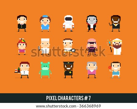 Set of pixel art characters with different gender, skin color, occupation and posture
