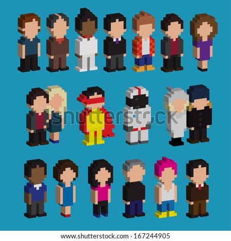 Set of pixel art 3d people icons, vector illustration - stock vector