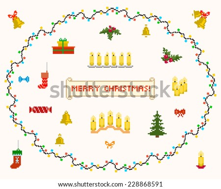 set of pixel art for christmas and new year vector and raster - stock vector