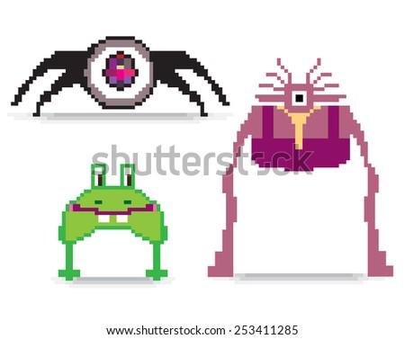 Set of pixel art monsters - stock vector