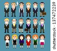 Set of pixel art office people in suits, vector illustration - stock vector