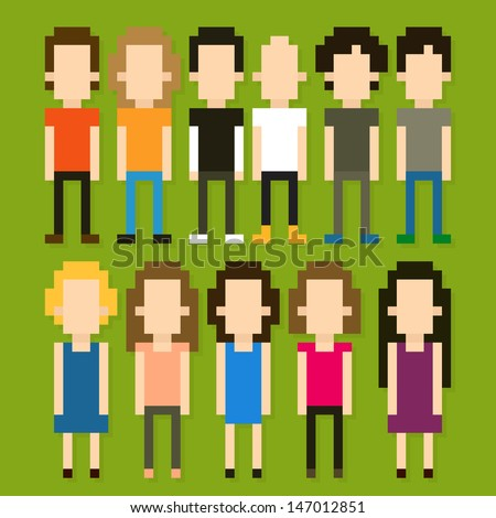 Set of pixel art people icons, vector illustration - stock vector