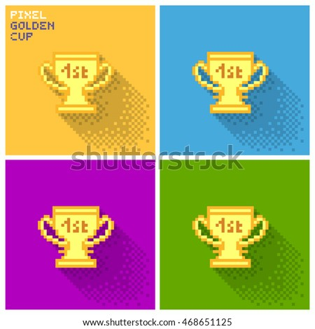 Set of pixel golden cup, flat pixelized illustration - stock image